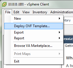 "Select ""Deploy OVF Template from the File menu"