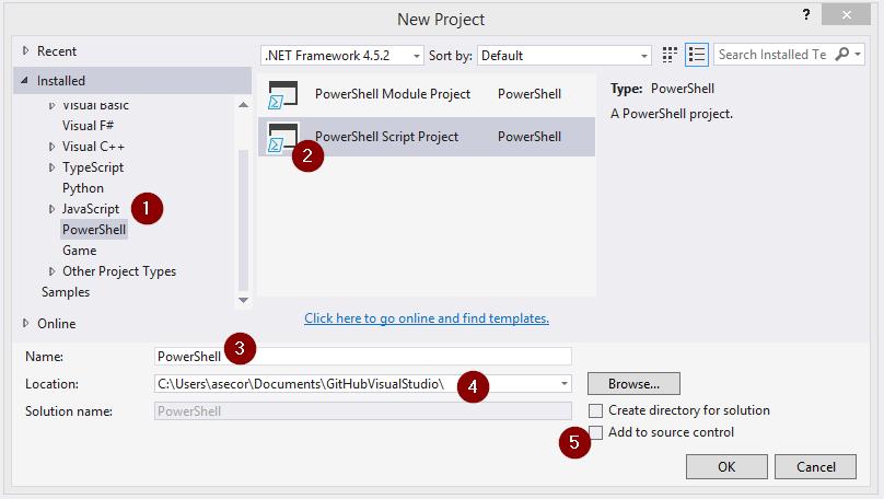 Clone Existing GitHub PowerShell Scripts to Visual Studio 2015 – nokitel